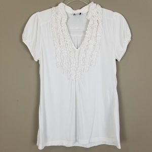 LOFT White Short Sleeve Ruffle Front Shirt